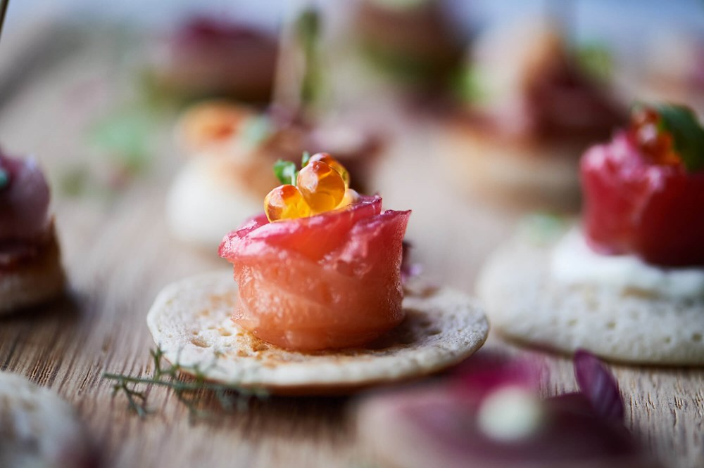 Pink wedding canapes