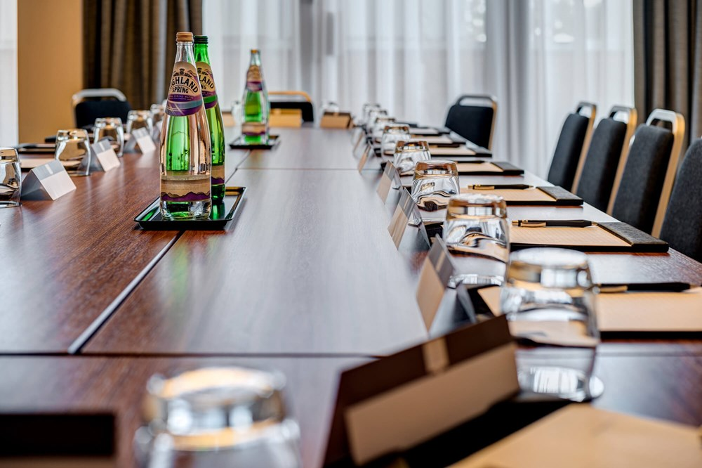 Vancouver room set up boardroom style for meeting