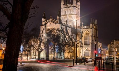 Bath Abbey lit up at night