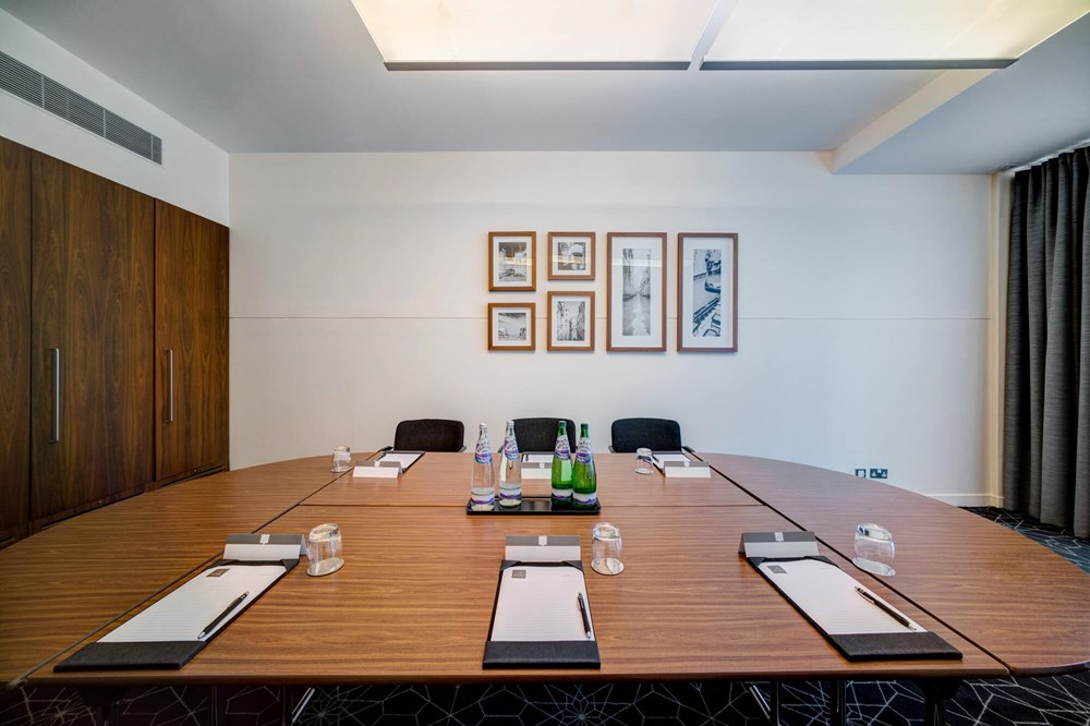 Venice room set up boardroom style for meeting