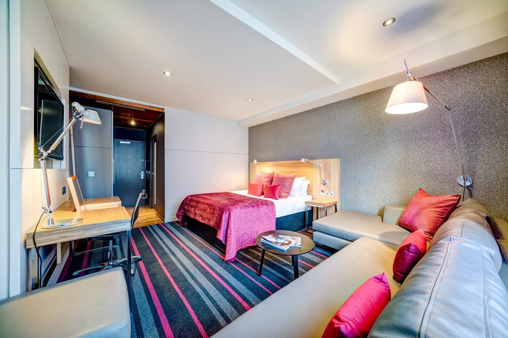 City Room with double bed and desk at Apex City of Edinburgh Hotel