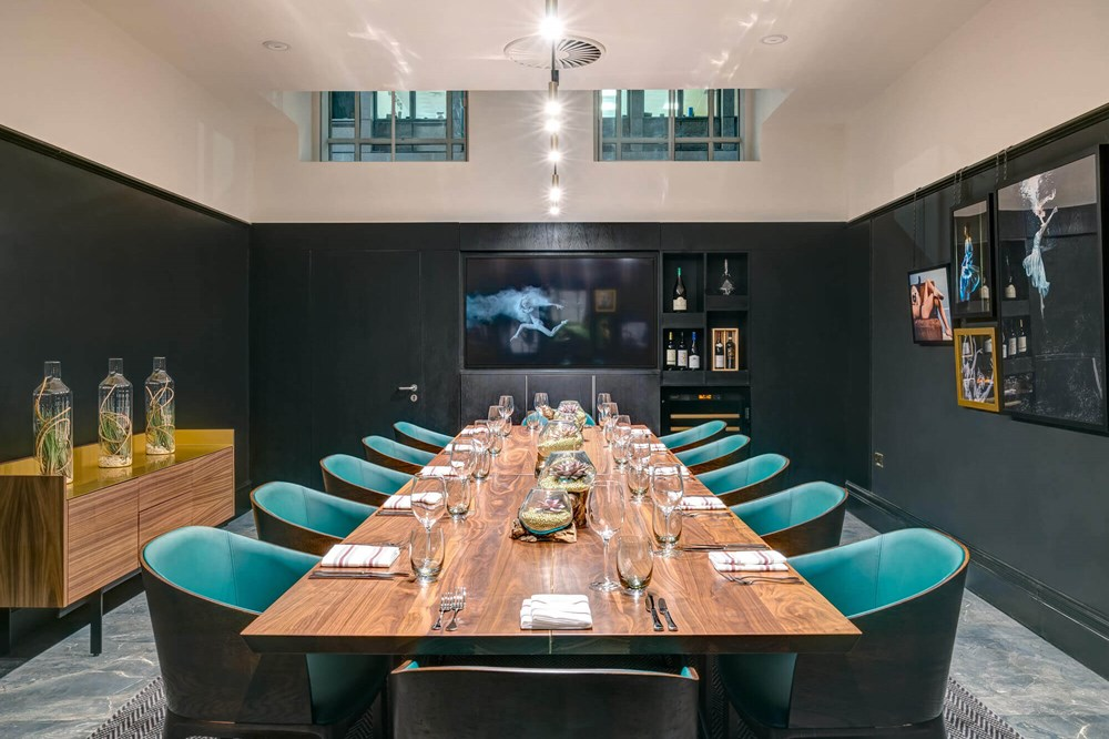 The Liberality Room set up boardroom style for private dining