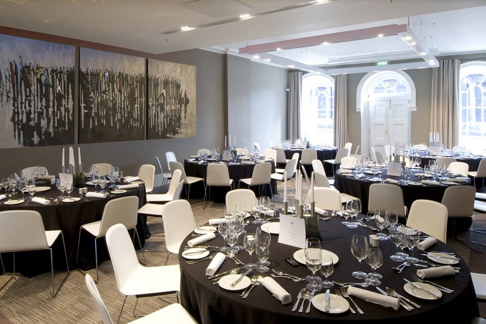 Waterloo Suite set for special occasion with round tables