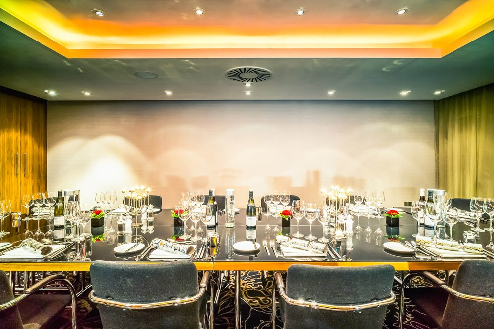 Geneva room set up boardroom style at Apex City of London Hotel