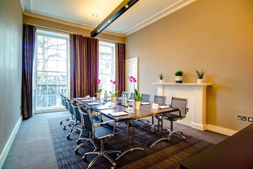 Waverley room at Apex Waterloo Place Hotel set up boardroom style