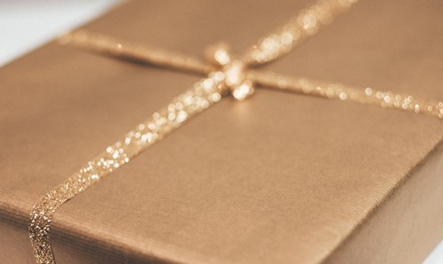Gold sparkly gift