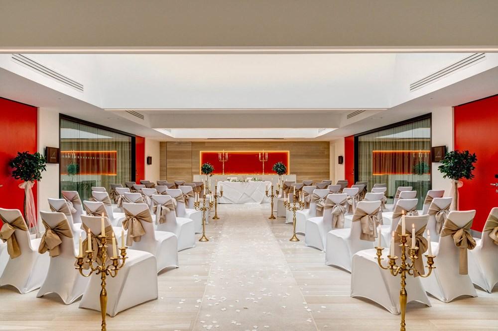 The Atrium set up for wedding with altar