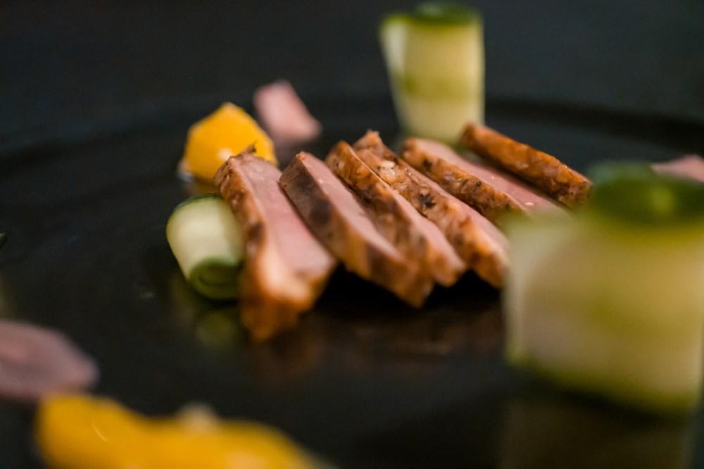 Smoked duck with vegetable garnish