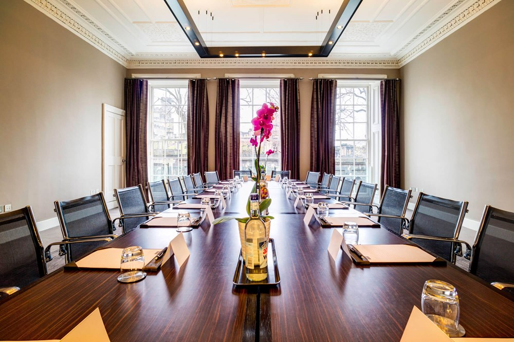 Calton room set up boardroom style for meeting