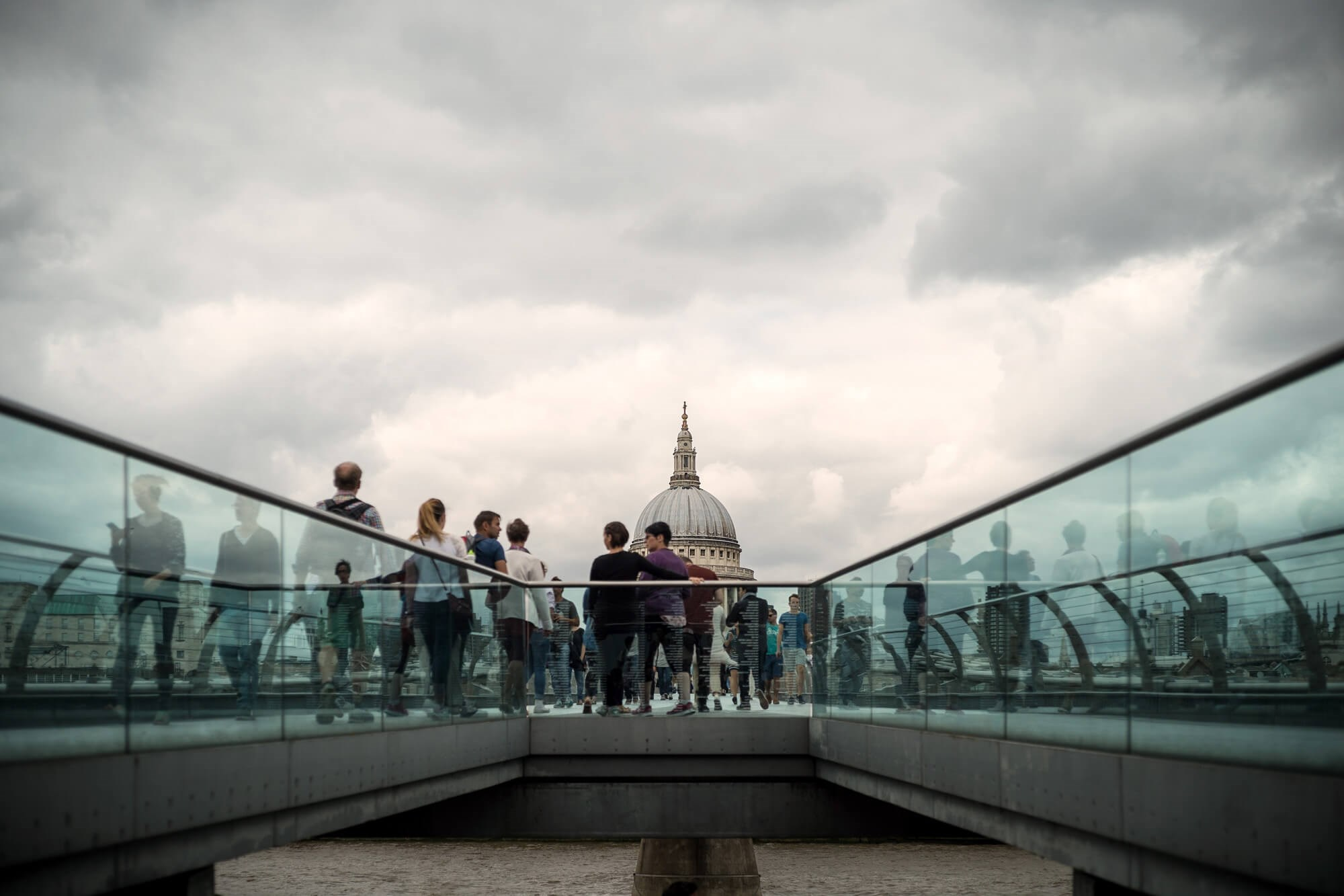 People on Millennium Bridge in London