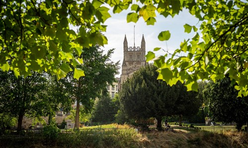 Bath Abbey seen through trees