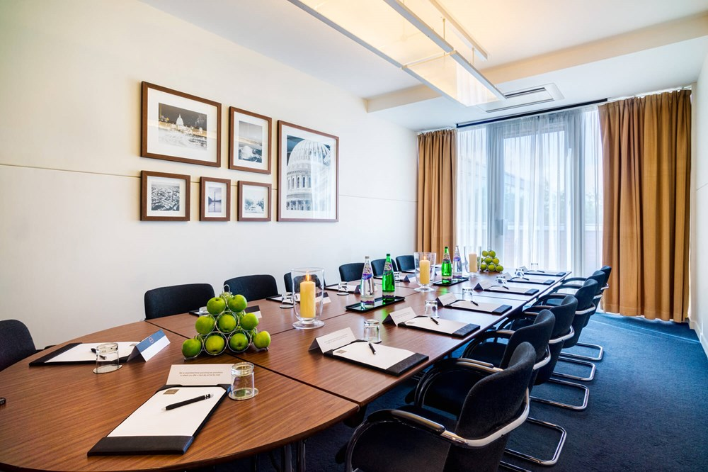 Washington room set up boardroom style for meeting