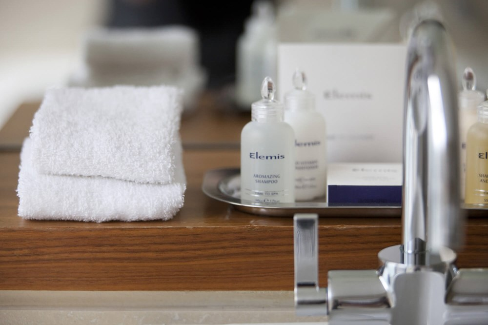 Superior Room complimentary miniature Elemis toiletries at Apex City of London Hotel