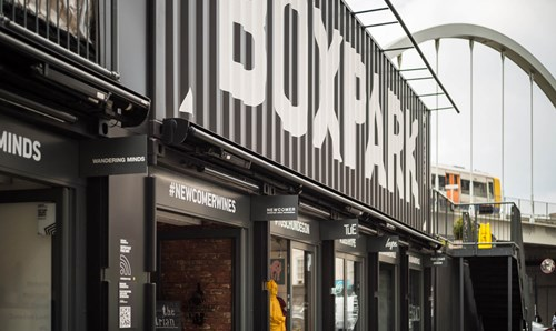 Boxpark sign in London