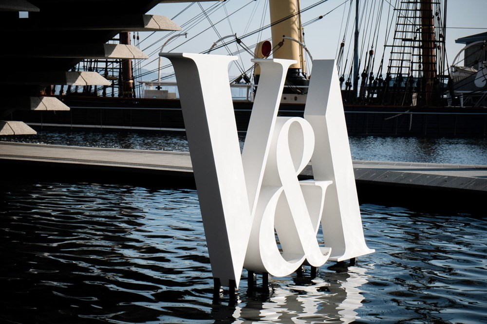 V&A sign outside V&A Dundee